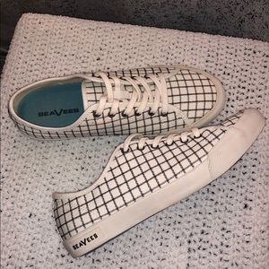 SeaVees White Windowpane Monterey Sneaker 9.5